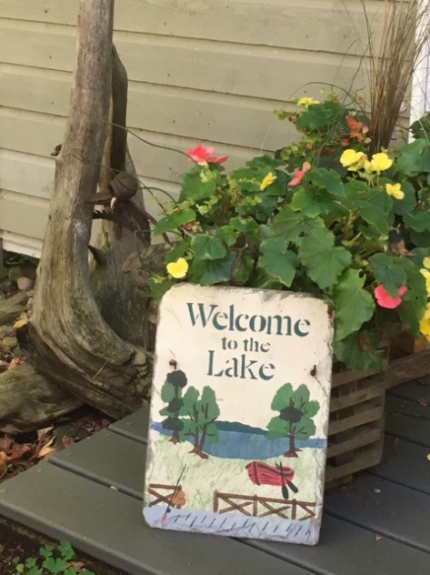 "Image description: Painted sign with image of lake and trees and says, ""Welcome to the Lake."" Propped up against a yellow and pink flowering plant with green leaves, piece of driftwood in the background."