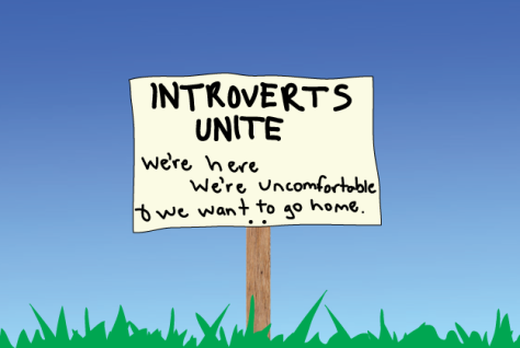 """Image description: drawing of a white sign with a wood stake driven into the grass against a blue sky. Sign says: """"INTROVERTS UNIT we're here we're uncomfortable & we want to go home."""""""