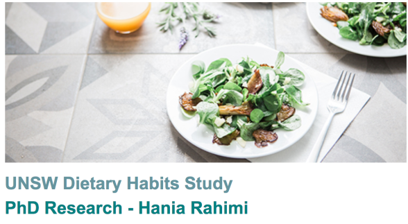 University of New South Waled Dietary Habits study, PhD research, Hania Rahimi; image is a plate of greens with some protein and a glass of juice.