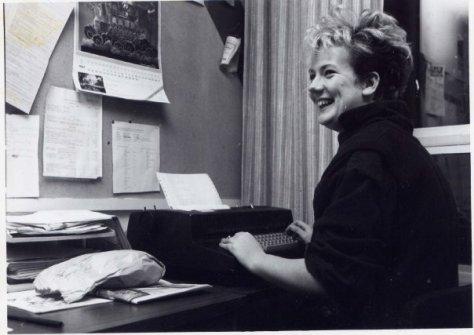 Black and white photo of Sam at CKDU