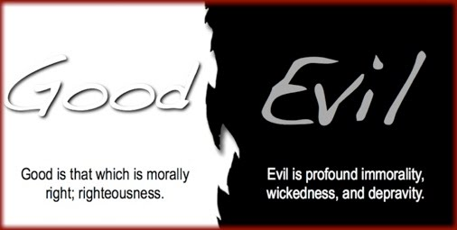 "Half white half black sign that says ""Good"" on the white side and ""Evil"" on the black side. Under ""Good"" it says ""Good is that which is morally right; righteousness"" and under ""Evil"" it says ""Evil is profound immorality, wickedness, and depravity."""