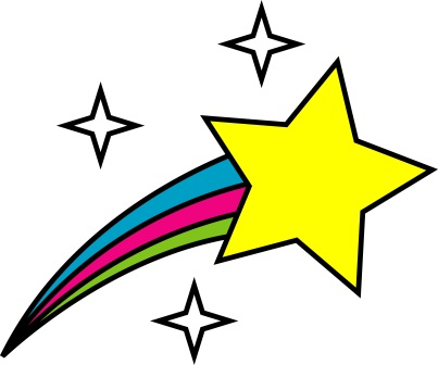 Image description: colour cartoon style drawing of a gold star with a red, blue, and green striped trail behind it and three white four-pointed stars in the background.
