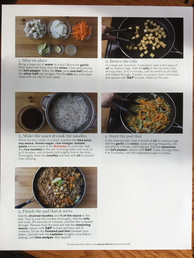 A photo of a page of instructions for Vegetarian Pad Thai that includes picture of each step.