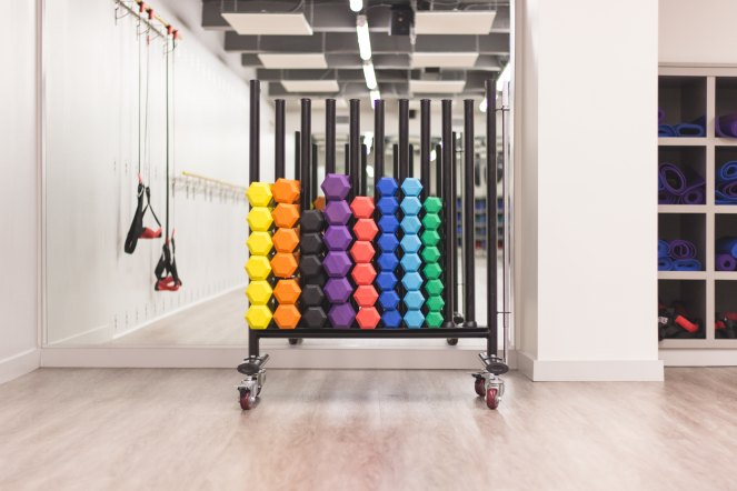 A rack of colourful weights in an empty gym