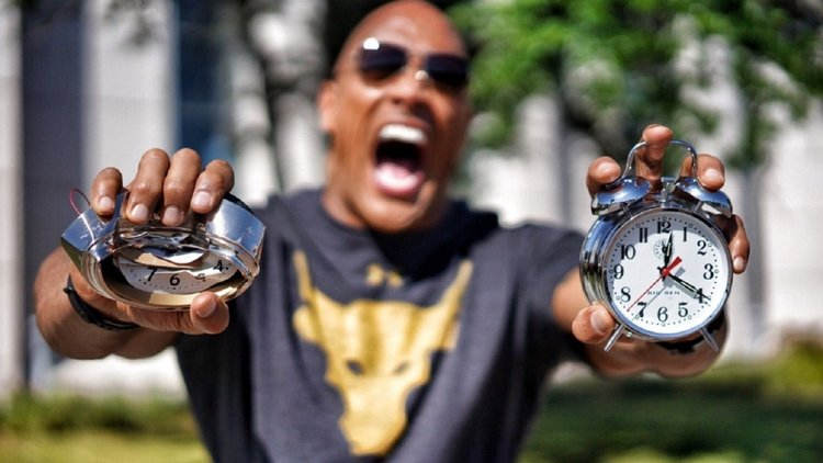 The Rock and his alarm clocks