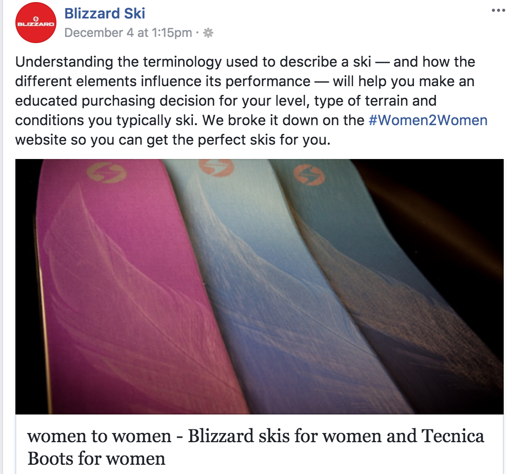 This is a post from the Blizzard Facebook page offering to help women understand what skis they should buy from Blizzard, and showing a variety of pastel colors of ski offerings.