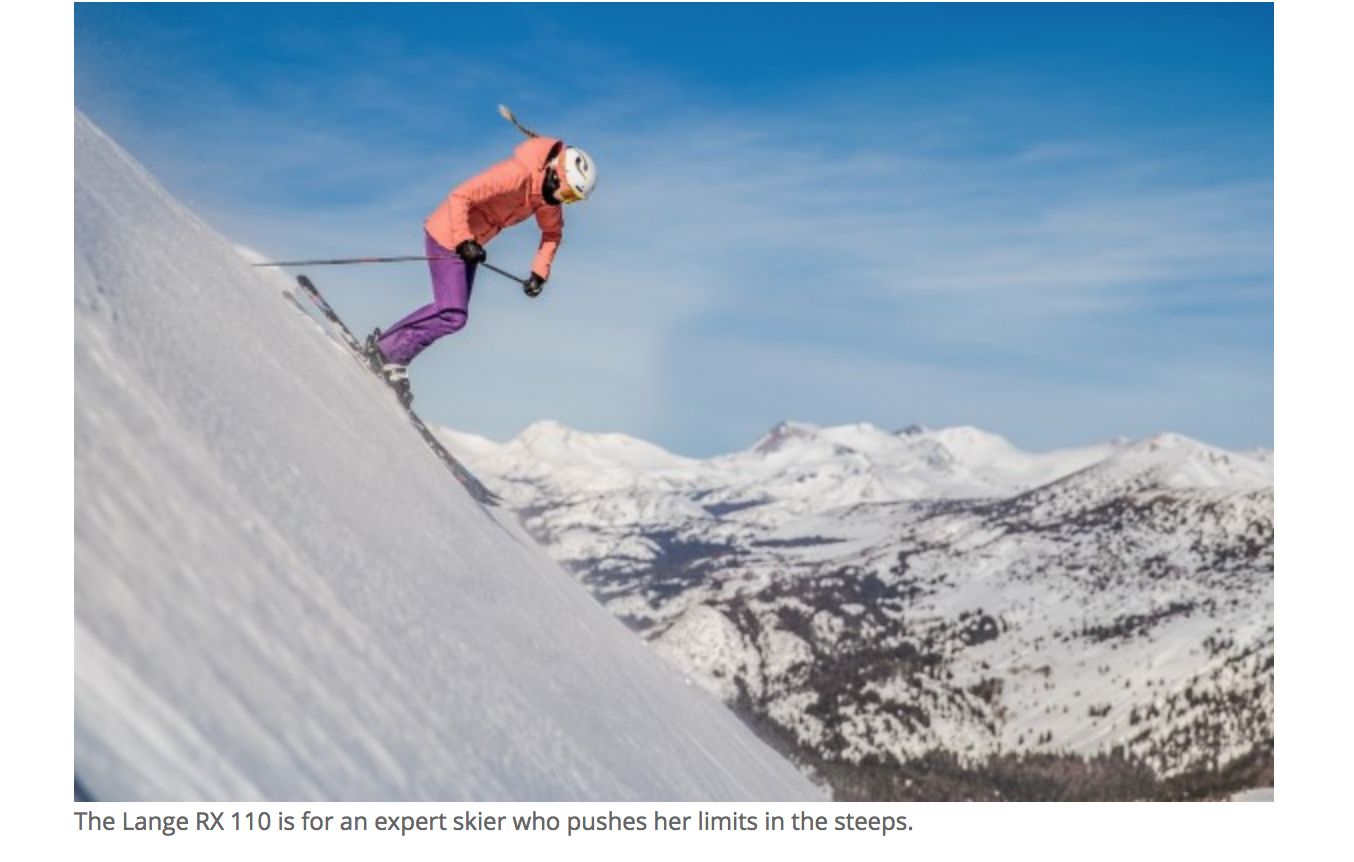 """A female skier headed down a very seriously steep descent; the ad copy reads """"the Lange RX 110 is for an expert skier who pushes her limits in the steeps."""""""