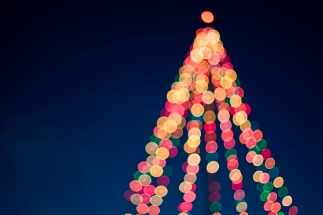 blurry lights, outline of a Christmas tree