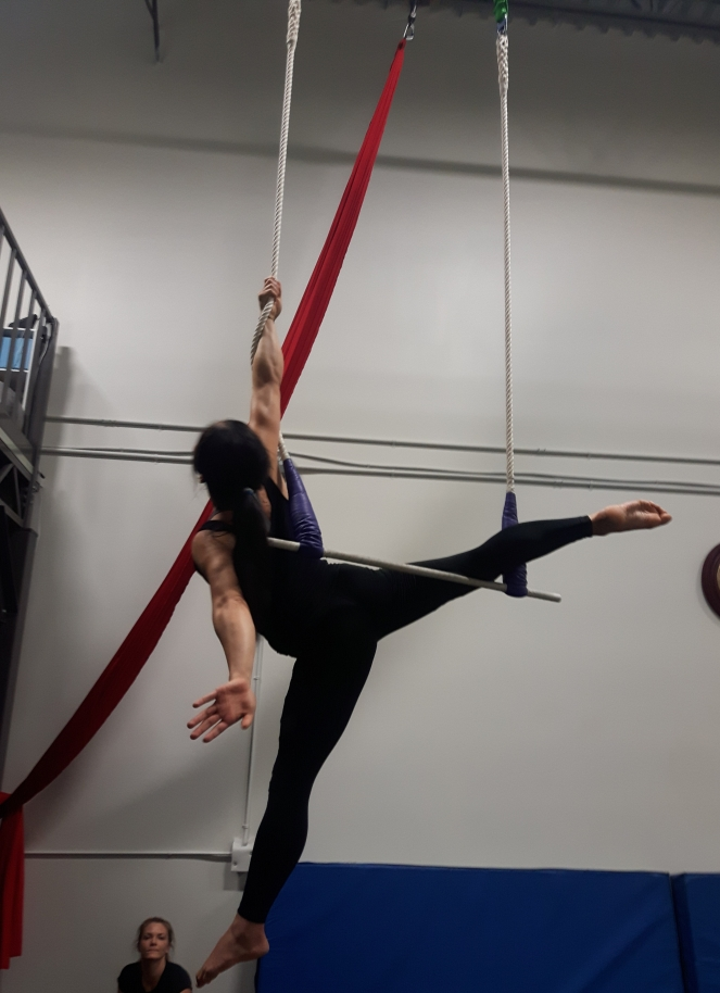 doing an arabesque pose on a static trapeze