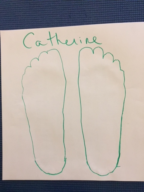 a drawn outline of my two feet, on a piece of white paper.