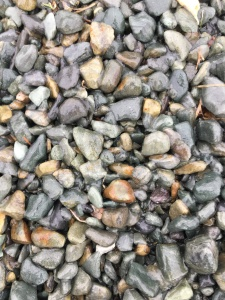 A photo taken during the author's walk. Small and shiny grey and brown stones that are covered with a thin layer of ice from freezing rain.