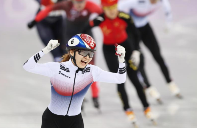 Choi Min-jeong, winning the gold in the women's 1500-meter short track speed skating final, with the rest of the pack way behind her, wondering what happened.