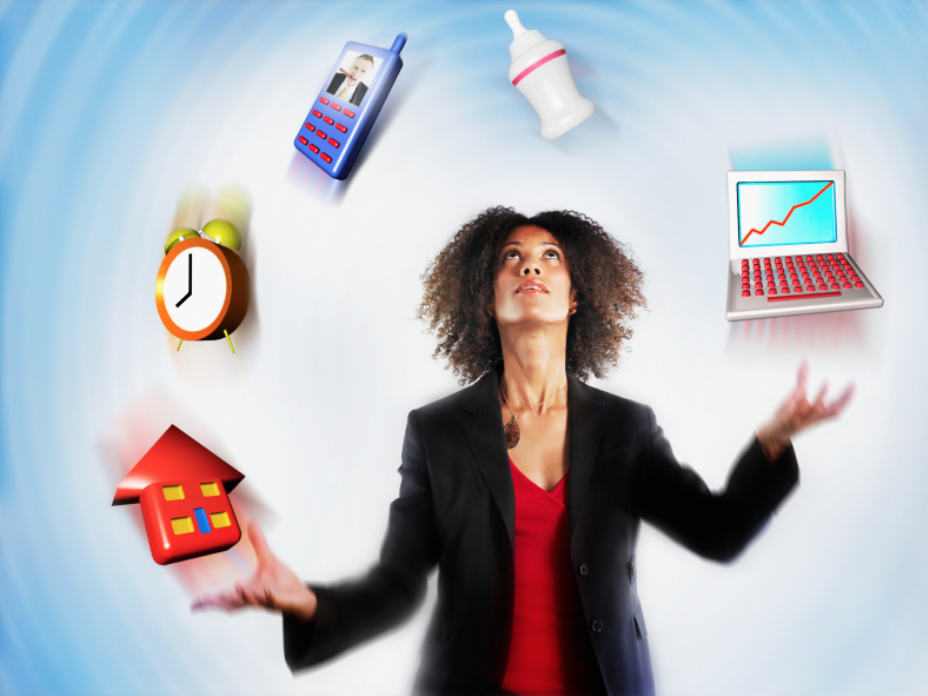 A woman in a suit juggling animated laptop, alarm clock, baby bottle, cell phone and home.