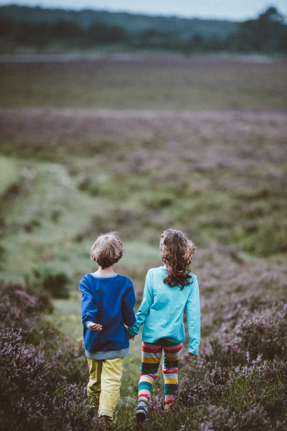 Photo by Annie Spratt on Unsplash. Image description: rear view of two children walking across a field. The one on the left has blond hair, bluu=e sweater and yellow pants. The one on the right has long wavy brown hair, a turquoise sweater, and stripey colourful leggings. They are holding hands,
