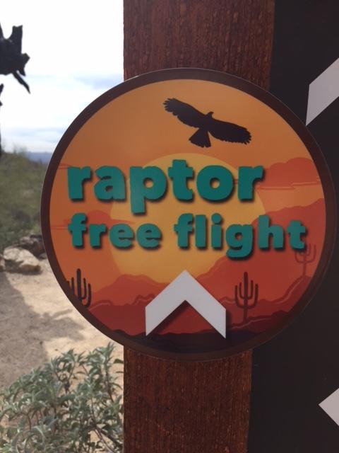 """Sign saying """"raptor free flight"""""""