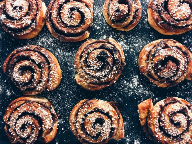 Photo of yummy looking cinnamon buns with frosting.