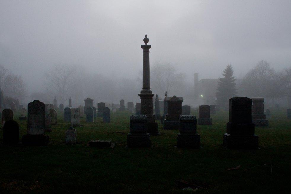 A foggy graveyard