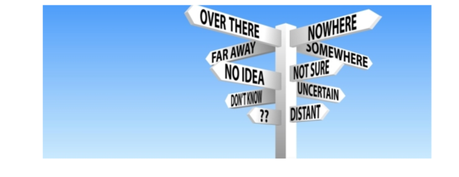 """sign post saying """"over there"""", """"nowhere"""", """"distant"""", etc."""