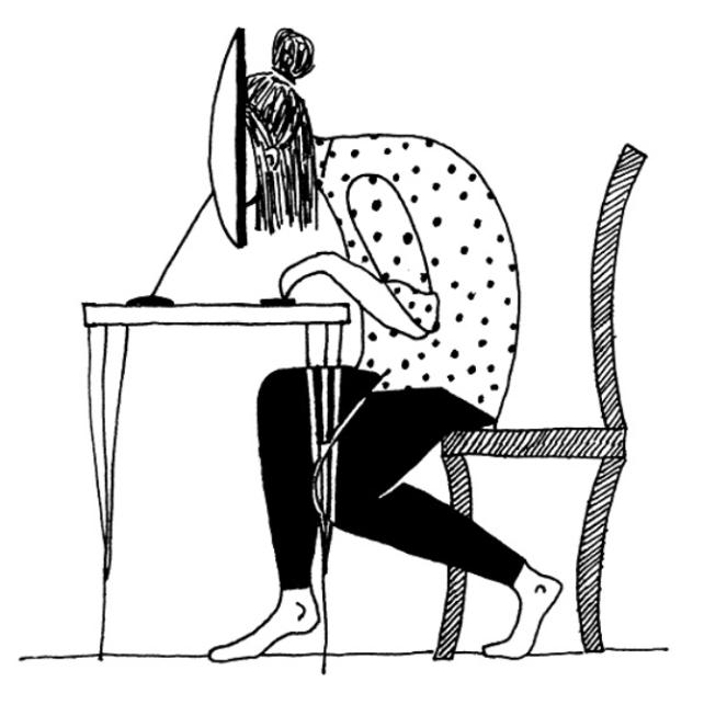 A drawing of a person at a desktop computer with their face stuck in the monitor screen.