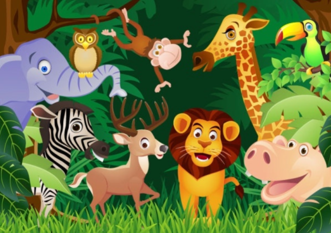 Animated brightly colored animals of all types, shapes and sizes.