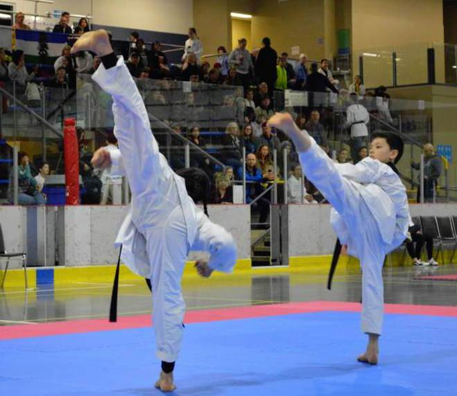 Two people in taekwondo uniforms do sidekicks at the same time.