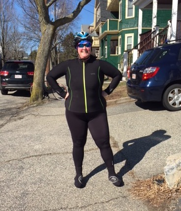Me in head to toe lycra, after a fun chilly road ride.