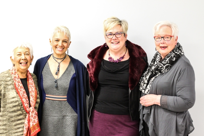 Image description: Four smiling women, left to right Tracy's mum, Tracy, Sam, Sam's mum.