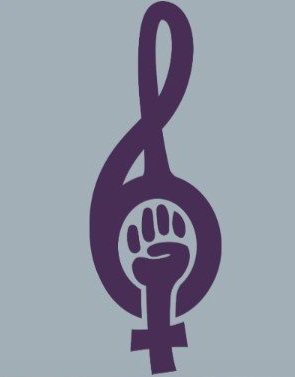 Image description: Purple treble clef with a woman symbol fist at the bottom against a light background.