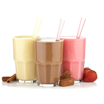 Image description: Three glasses with shakes and two straws in each, from left to right vanilla, chocolate, strawberry, against a plain background with cinnamon sticks, chocolate, and strawberries on the surface besides the shakes.