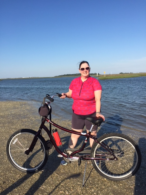 Me with my beach cruiser at a marsh near the bikeway.