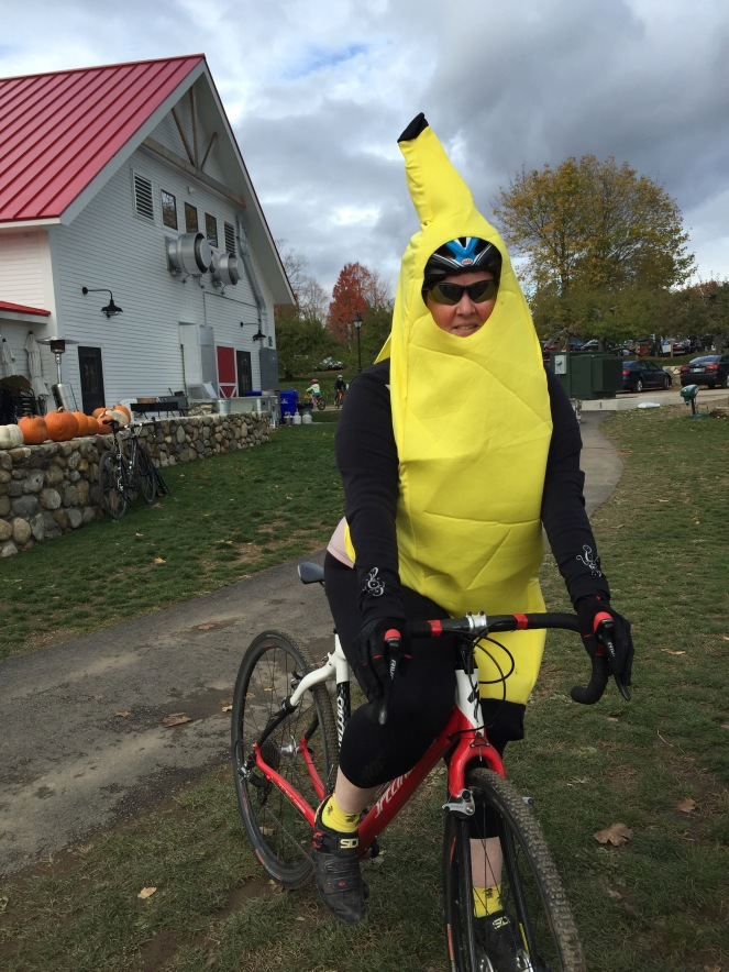 Me on my cross bike, dressed as a banana, before the Orchard cross costume ride.
