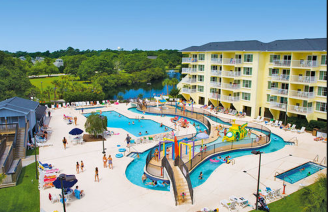 A water park with pool, hot tub, water features for kids, and a lazy river.