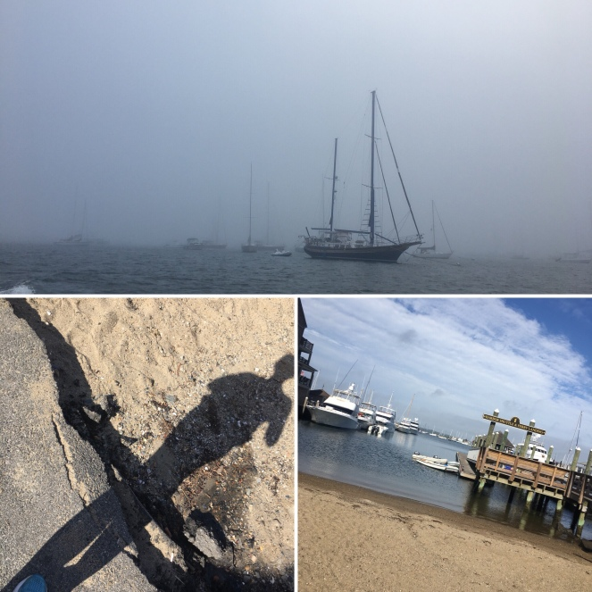 Image description: 3 pic collage with a sailboat in a foggy harbour at the top; underneath a pic of Tracy's shoe and shadow on a beach on the left and a beach and pier with boats of various sizes, blue skies and clouds on the left.