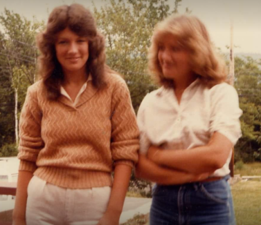 Sam and her sister, 1978.