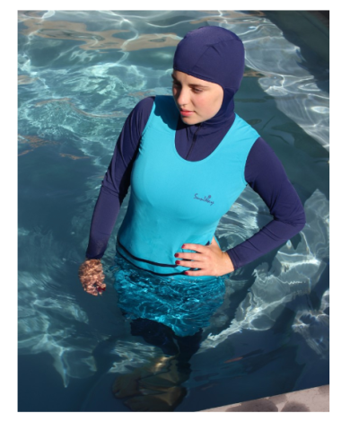 A light and dark blue burkini with tank top pattern and stripes; head covering is dark blue.