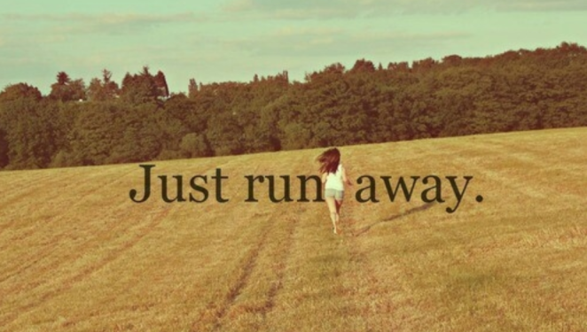"A woman with long brown hair, running in a field, with the words ""just run away""."