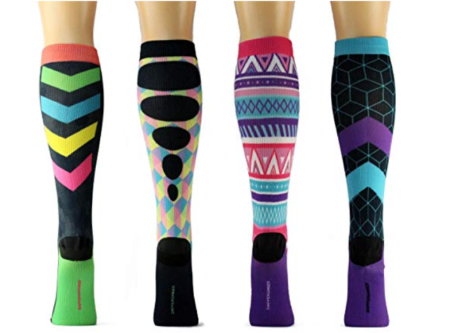 Pretty patterned compression socks (these are marketed to nurses, fyi).