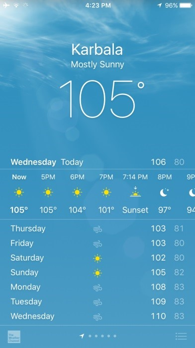 Screenshot of the weather app in iPhone, indicating temperature of 105F in Karbala, Iraq.