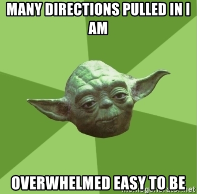 "Yoda, saying ""many directions pulled in I am; overwhelmed easy to be""."