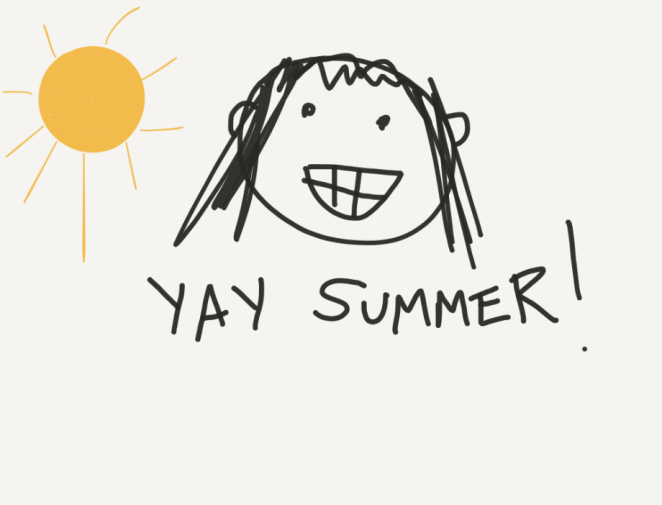 "Hand-drawn picture of a sun and a kid saying ""Yay summer!"""