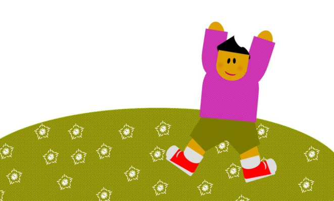 A cute cartoon person in purple shirt, olive shorts, red shoes, jumping. I feel like this too.