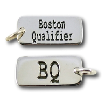 "Image description: two silver metal engraved charms, top one says ""Boston Qualifier"" and bottom one says ""BQ"" (available from: https://www.inspiredendurance.com/boston-qualifier-bq-charm/)"
