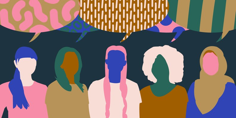 Image description: Colourful drawing of five women in silhouette, suggestive of diverse ethnicities/races.