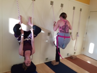 Headstands on the wall-- completed and in progress.