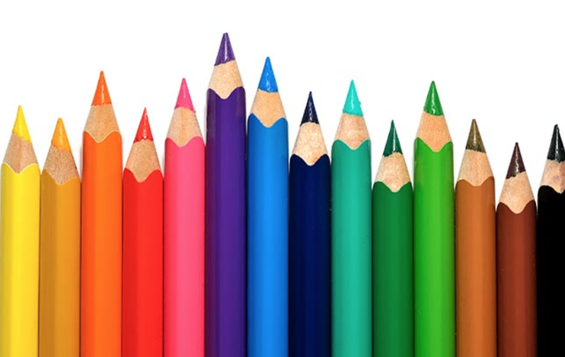 Sharpened pencils, in a variety of bright colors.