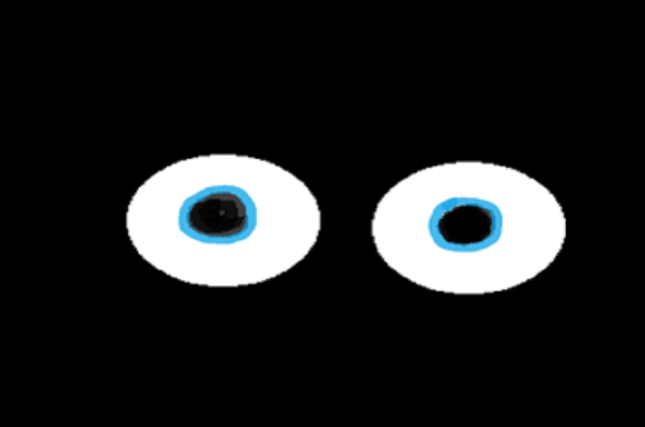 Two cartoon eyes staring in the blackness.