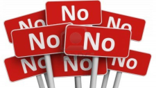 "a large collection of ""no"" signs."