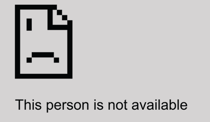 "Square computer-generated sad person, with ""This person is not available"" message."