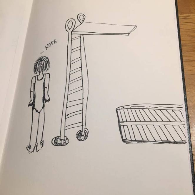 A drawing in blank ink on white paper of a young person with bobbed hair. They are standing next to a ladder that leads to a diving board that extends over a very small swimming pool. They are saying the word 'Nope.'