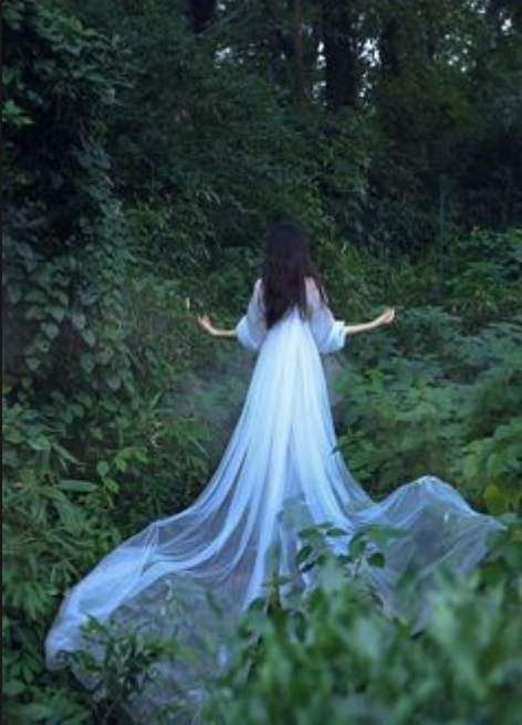 Woman in white gauzy, flowing gown in the woods, viewed from the back.